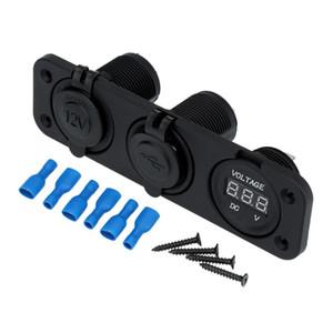 NUOVO adattatore doppio caricatore per accendisigari auto USB dual accendisigari + voltmetro digitale per motobike ATV