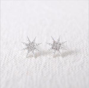 Nueva moda Rinestones estrella anís estrella nieve chapado en oro plateado pendiente mujeres mejor regalo de una mujer