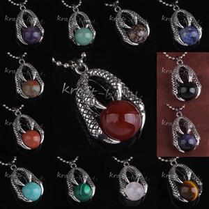 10pcs all'ingrosso argento placcato argento Dragon Claw diversi pietra rotonda perline gioielli ciondolo fascino per la collana