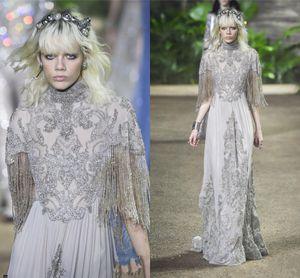 Elie Saab 2016 высокая шея вечерние платья блестящие стразы бисером пром платья с кисточкой рукава длиной до пола платья партии для женщин