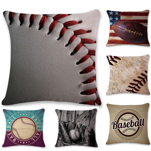 45 * 45 cm más nuevo Baseball Football funda de almohada de algodón de lino cojín cuadrado sofá coche sala de estar dormitorio fundas de almohada 9 estilo en Stock WX-P24