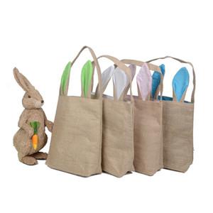 Espacios al por mayor Nuevo diseño único de arpillera Pascua Tote Yute Pascua conejito bolsa con orejas de conejo caja de almacenamiento de cestas de Pascua