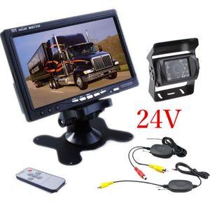 """Kit de caméra de sauvegarde sans fil de voiture 24V + moniteur LCD TFT de 7 """"pour camion / camionnette"""