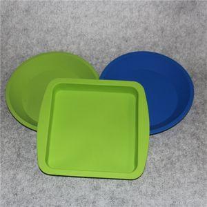 Atacado New Round e forma quadrada Food grade recipiente de silicone, Silicone prato profundo recipiente para Alimentos / Frutas / cera
