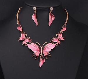 Set di gioielli farfalla smalto delle donne set di gioielli in oro colore collana girocollo orecchini per gioielli da sposa 4 colori