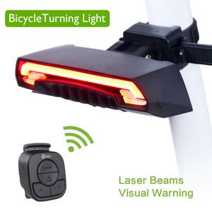 Luce posteriore della bicicletta intelligente Luce di controllo remoto senza fili Lampada di coda della bici Luce laser ricaricabile USB del laser