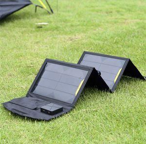 14W USB المحمولة شاحن للطاقة الشمسية للهاتف المحمول + لوحة للطاقة الشمسية + طوي USB شاحن البطارية محفظة حقيبة