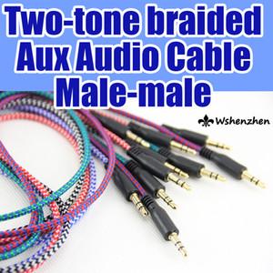 3,5 milímetros trançado Cabos Cabo de áudio para carro cabo 1M Stero Woven Car Aux áudio de Extensão para o telefone Samsung PC MP3 Headphone Speaker