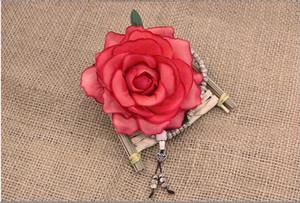 장미 실크 플라워 꽃 머리 고품질의 실크 꽃 장미 꽃가루 인공 꽃 장미 꽃 머리 무료 배송