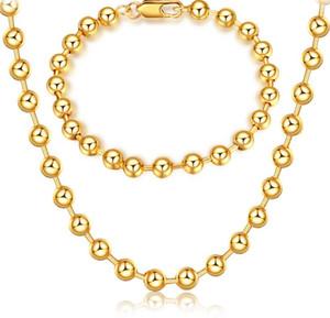 Марка 18K золото обшивки круглый шарик ожерелье браслет Мужчина Женщина 6 мм буддизм шарик золотой браслет ожерелье свадебные украшения набор