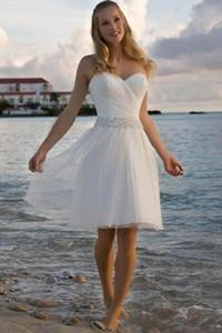 2019 Yeni Yüksek Kalite Sevgiliye Rhinestone Tül Kısa Rahat Sahil Gelinlik Gelin Kıyafeti Ücretsiz Kargo 177