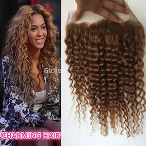 heißer Verkauf Spitze frontal 13X4 gebleichte Knoten frontal tiefe Welle 27 # Honig blonde brasilianische Haare volle Spitze frontal