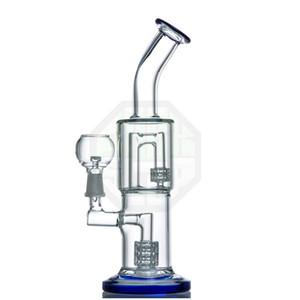 Matriz estéreo doble J-Hook Perc Dab Rig La boquilla y la base abocinadas presentan una envoltura de labios de cristal de color que proporciona un aspecto elegante y elegante