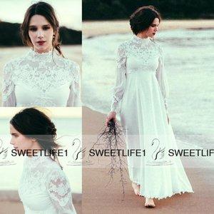 2019 Sheer mangas largas modesto maternidad bohemio playa vestidos de novia imperio cintura gasa encaje de alta calidad barato una línea de vestidos de novia