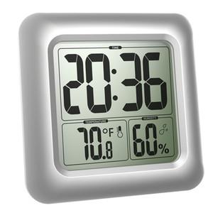 Baldr Mode Wasserdichte Dusche Time Watch Digital Badezimmer Küche Wanduhr Silber Große Temperatur und Luftfeuchtigkeit Anzeige