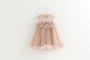 Niñas princesa vestido de verano nuevos niños de encaje gasa pétalos de tul tutú vestido de los niños chaleco vestido de fiesta rosa blanco niñas ropa A8677