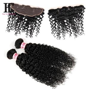 7A Mongol Kinky Curly Hair Avec Fermeture Full Lace Frontal 2 Bundles Avec Fermeture Frontale Human Hair Bundles Avec Dentelle Front