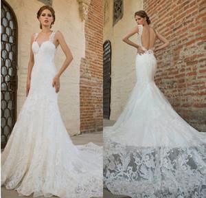 Vestidos De Noiva роскошные кружева Русалка свадебные платья с открытой спиной милая Capped рукава часовня поезд свадебные платья на заказ
