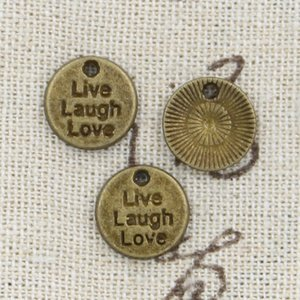120 pz Charms live laugh love 12mm Antique Making pendente fit, Bronzo tibetano vintage, collana bracciale fai da te