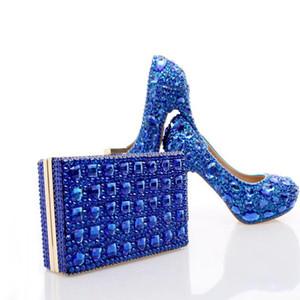 Salto de casamento Royal Blue strass com Crystal Fashion Matching saco do partido dos saltos altos com sapatos embreagem nupcial Lady Prom Bombas