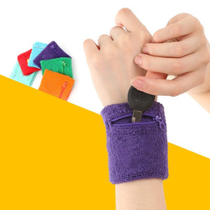 Wholesale-1 pc Outdoor Running Cycling Wrist Band Wallet Safe Storage Wallet Zipper Wrap Sport Strap Bracers Wrister