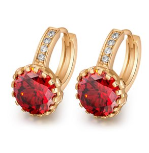 New Fshion Crystal Earrings Real 18k Gold Plated White Green Red CZ Earrings for Girls Women Charming Earrings