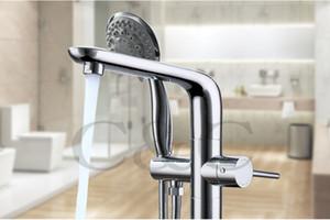 Badezimmer Boden Stehen Badewanne Wasserhahn Mischer Set Handbrause Chrom Massivem Messing Wholesale Freies Verschiffen
