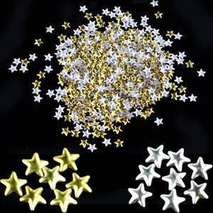 Wholesale- Nail Art 250 Pieces Gold Silver 5mm Star Metal Studs for Nails Phone Decoration