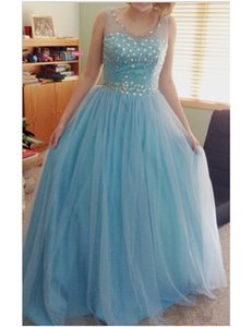Light Blue Prom Dress Scoop Neck Sleeveless Rhinestones Tulle Floor Length A Line Party Gowns Custom Size vestidos de formatura