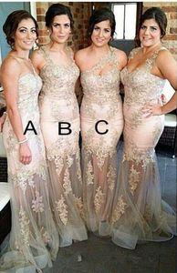 Sereia Vestidos de Dama de Honra 2016 Barato Spaghetti Straps Lace Apliques Beads Sheer Longo Para O Casamento Plus Size Vestido de Festa Vestidos de Madrinha de casamento