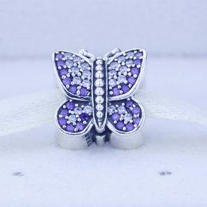 Подходит Европейский Pandora подвески браслет стерлингового серебра 925 пробы оригинальные бусины женщины серебро игристое бабочка Шарм рождественские подарки 1 шт./лот
