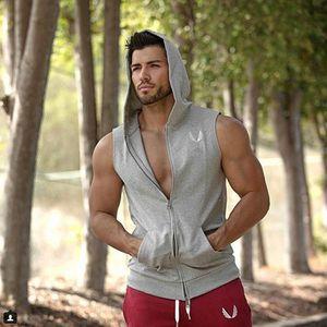 Großhandels-Muskel Dr. Fitness Brothers Männer mit Kapuze Sleeveless laufende dünne Westeart Jogging Gym Clothing