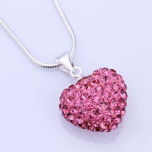 Corazón de cristal Shamballa colgante 925 Sterlling plata plateó la joyería 11 colores Rhinestone disco de cristal collar de la joyería de las mujeres amor regalo