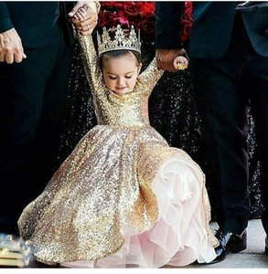 2017 Ball Gown Girls Pageant Dresses with Crew Neckline Long sleeve Floor Length Bling Gold Glitter Glued Lace Kids Birthday Party Dresses