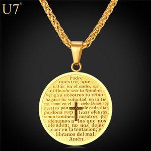 Nuevo Nuevo Collar de Cruz Mujeres / Hombres Escritura Joyería Cristiana Regalo 18 K Oro Real Redondo Moneda Colgantes Joyería Inoxidable P809