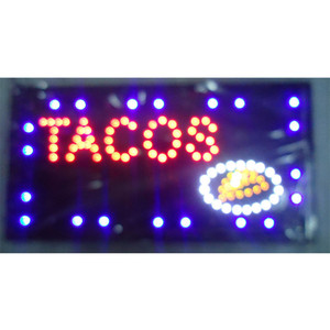 direct selling led sign 10*19 inch semi-outdoor Ultra Bright running TACOS store message signage led billboards Wholesale