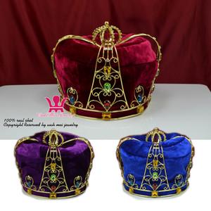 Corona Tiara Sombrero Cap King Queen Cosplay Hairwear Unisex Príncipe Princesa Fashion Jewel Party Prom Night Clup Show Estado Imperial Color Mo090
