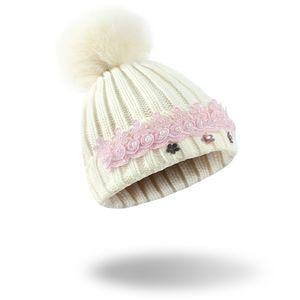 Bling di alta qualità diamante cappello bello inverno creativo pizzo perla berretto di lana diamante lavorato a maglia cappello di lana perla cap cappelli di natale all'ingrosso