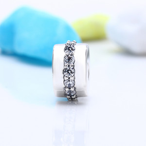 2017 Summer 100% Real 925 Sterling Silver Not Plated Luxury CZ Charms European Charms Beads Fit Pandora Bracelet Clip DIY Jewelry