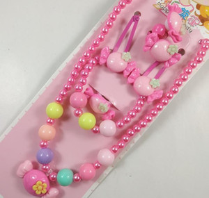 Ring Clip Jewelry Set Bracelet Pearl Beads Set Cartoon Necklace Girl Gift Hair Pink Hairband Kids Christmas Party Bag Filler Prize Pend Efgq