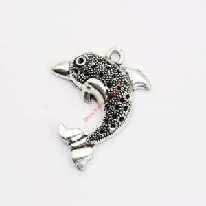 10 stücke Antikes Silber Überzogene Delphin Charme Anhänger für Armband Halskette Schmuck Handgemachte Fertigkeit DIY 33x26mm