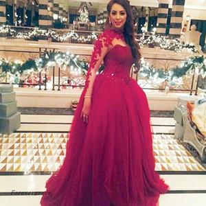 Kırmızı Uzun Kollu Abiye Yüksek Boyun Tül Kadınlar Özel Durum Elbise Balo Parti Elbise Artı Boyutu Giymek vestido de dresses longo