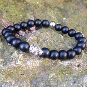 SN0425 Argent Crâne Perlé Bracelet À La Main Bracelet Mat Noir Onyx Pierre Bracelets Mode Hommes Bracelet