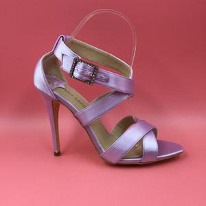 Gerçek Görüntüler Açık Mor Düğün Ayakkabı Sandalet Yüksek Topuklar Yaz Kadın Ayakkabı 2016 Sandalet Stilettos Çapraz Tie Stilettos Gelin Ayakkabıları