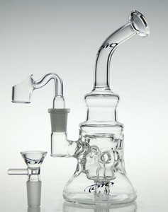scientific-glass bong !glass recycler new glass bong oil rig diamond glass pipe with quartz nail and bowl 14.4mm joint
