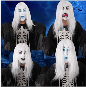 Halloween maschere horror mascherata maschera per gli uomini rifornimenti del partito di errore puntelli in lattice fantasma bianco maschera per capelli per le donne palla vendita calda costume
