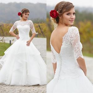 Кружева органза без спинки половина рукава длиной романтический плюс размер горячей продажи Vestido Vintage новая кружева сексуальная длинная линия свадебные платья
