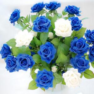 Nueva artificial látex flores de Rose para la boda real flor del tacto Roses Wedding Party Inicio Juegos de Disfraces de Navidad