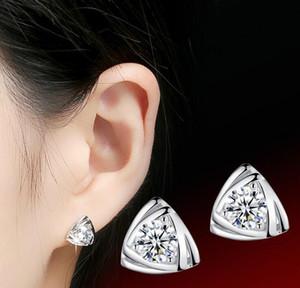 925 стерлингового серебра ювелирные изделия Серьги с CZ Циркон треугольник цветок серьги шпильки мода Кристалл ювелирные изделия