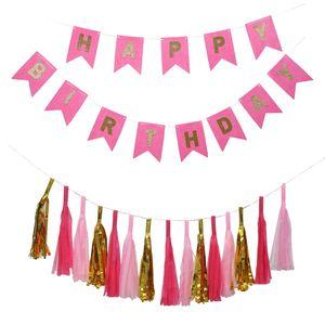 Compleanno Decor Oro Carta velina Nappe Pompon Ragazzo Ragazza Banner di buon compleanno Baby Shower Bomboniere Bomboniere Forniture per feste Nuovo